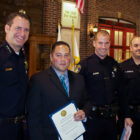 Former Vallejo Police Chief Andrew Bidou poses for a picture with officers Matthew Komoda, David McLaughlin and Kevin Barreto on April 29, 2016. Over the next two-and-a-half years, Komoda would participate in three shootings, McLaughlin in two, and Barreto in one.