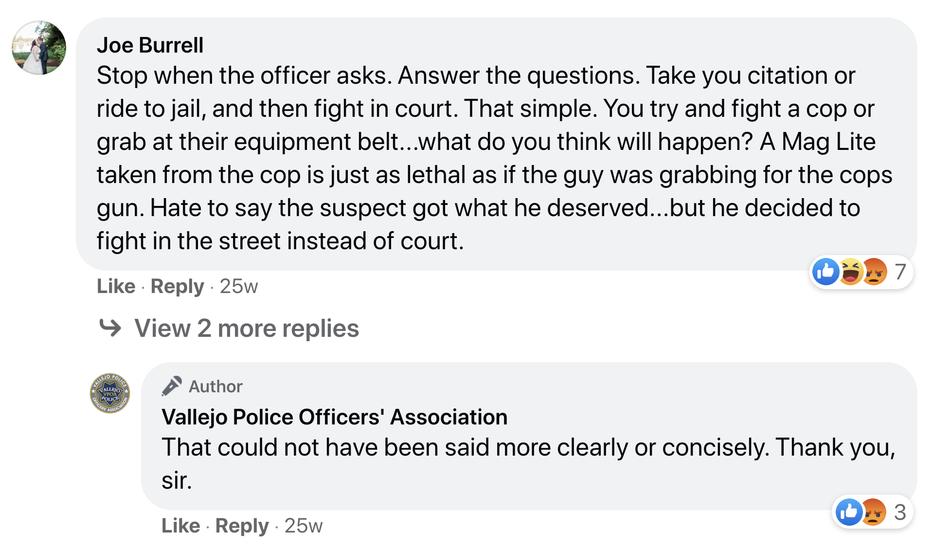 """In this screenshot from February, 2020, a spokesperson for the Vallejo Police Officers' Association appeared to ratify statement by a third party that Ronell Foster """"got what he deserved"""" when he was killed on Feb. 13, 2018."""