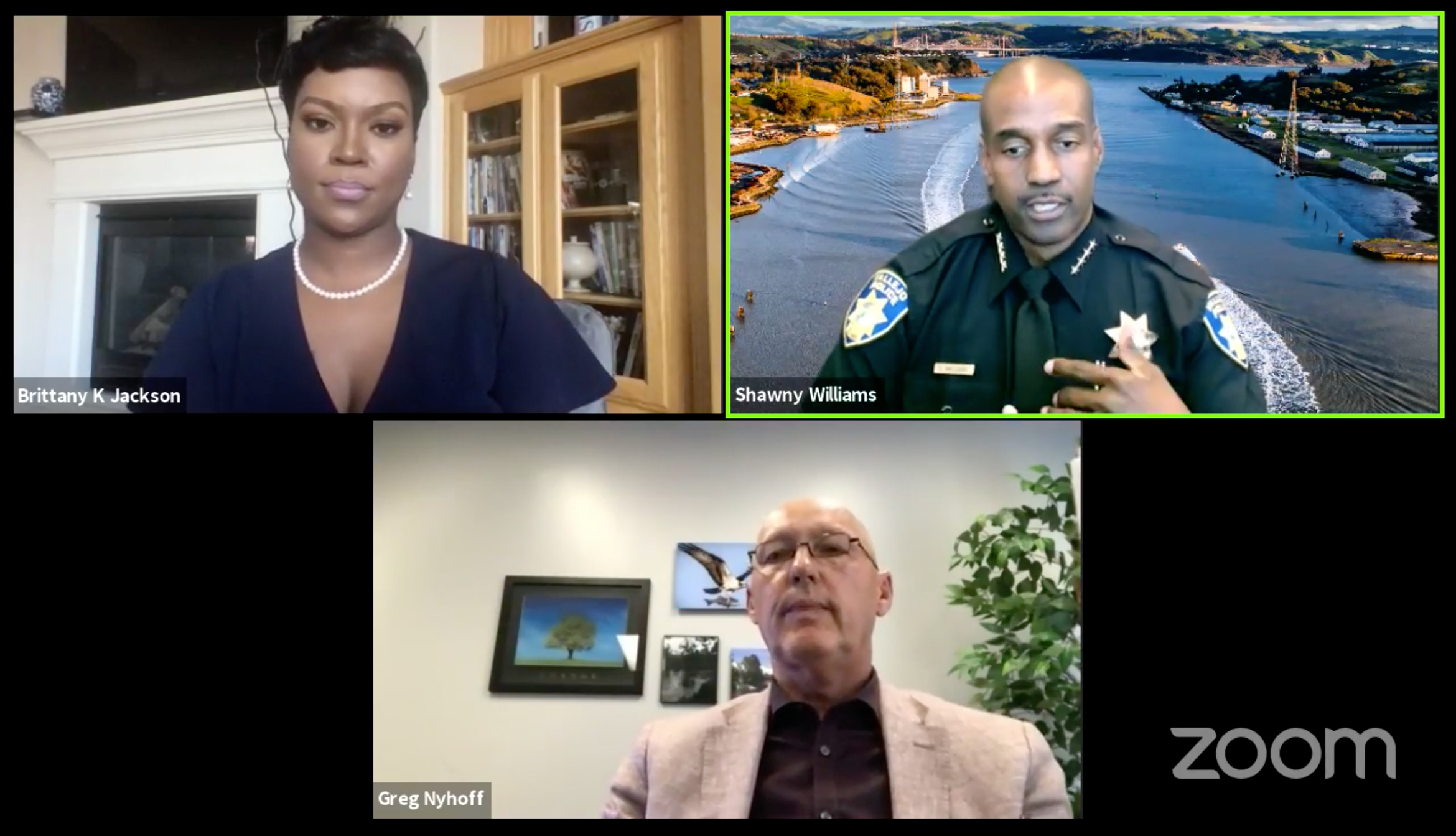 """A screenshot of Vallejo police spokesperson Brittany K. Jackson, Police Chief Shawny Williams, and City Manager Greg Nyhoff during a """"virtual town hall"""" on policing held over Zoom on July 23, 2020 in Vallejo, California."""