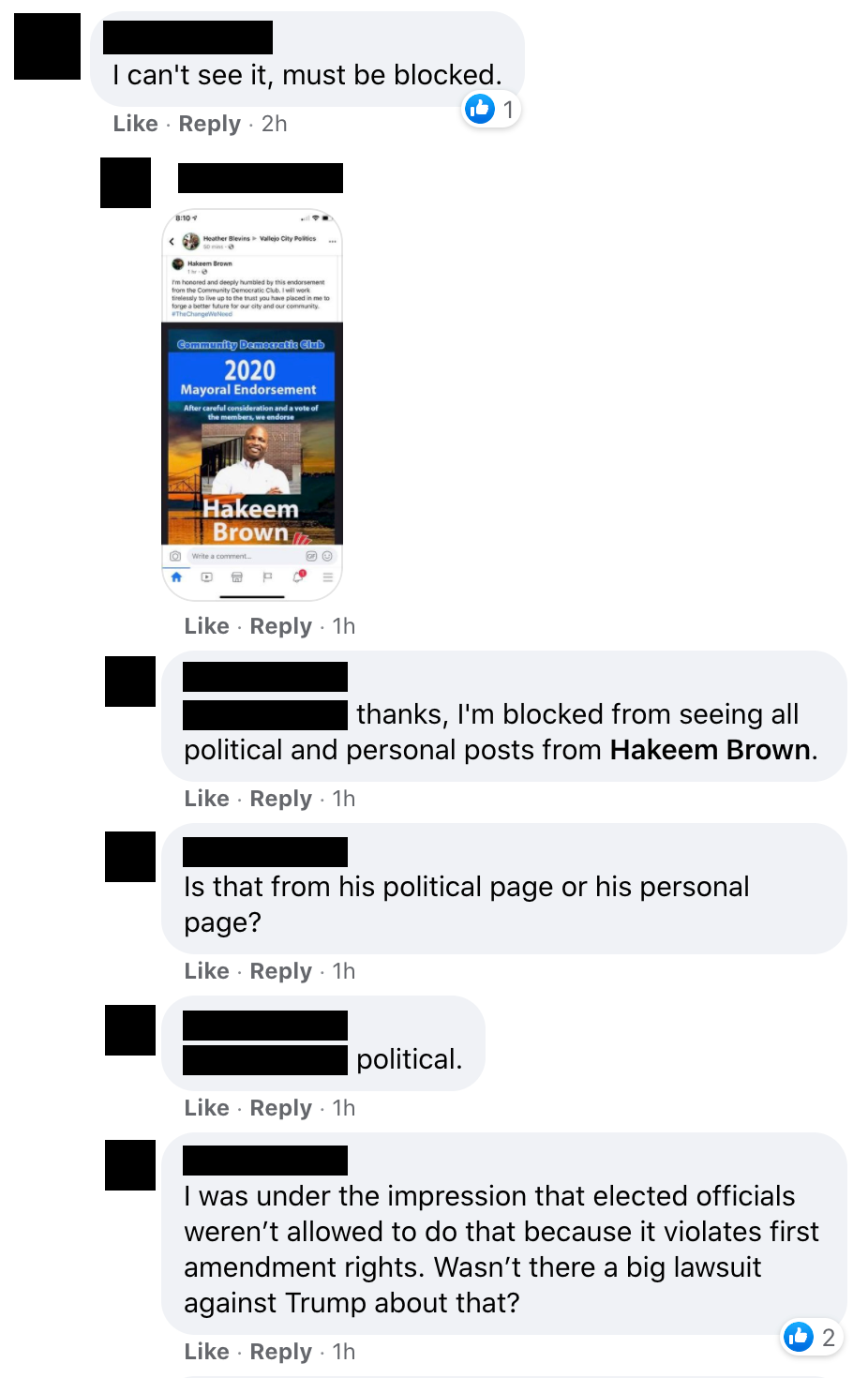 Several people have accused Vallejo City Councilmember Hakeem Brown of blocking them on social media, and deleting or hiding comments. Brown denied the allegations earlier this year.