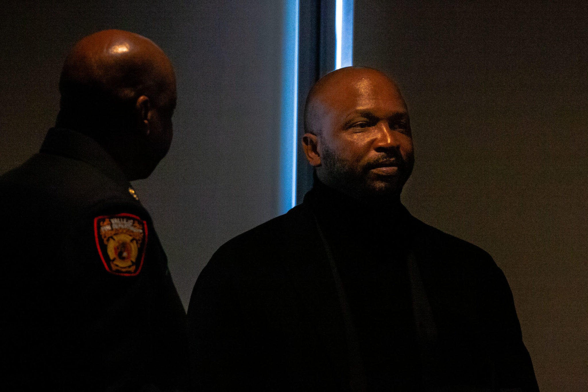 Vallejo City Councilmember Hakeem Brown, right, attends the swearing-in of Police Chief Shawny Williams last November. Elected to the council in 2018, Brown has rapidly consolidated political power by aligning himself with Vallejo's powerful public safety unions.