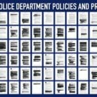 A blue, white and black graphic depicting redacted pages from the Vallejo Police Department policy manual