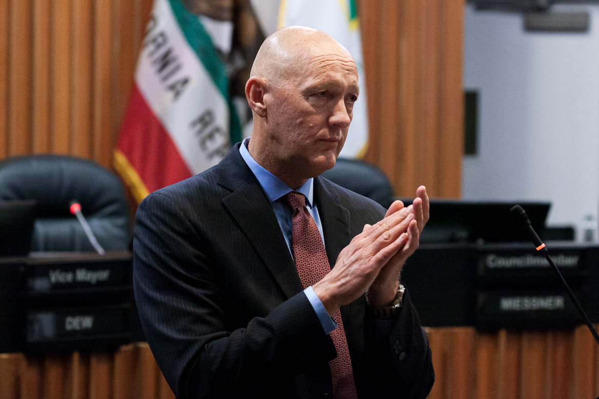 City Manager Greg Nyhoff is seen at Vallejo City Hall in November 2019. Nyhoff held a series of undisclosed meetings with developers seeking to build on Mare Island that Fall.