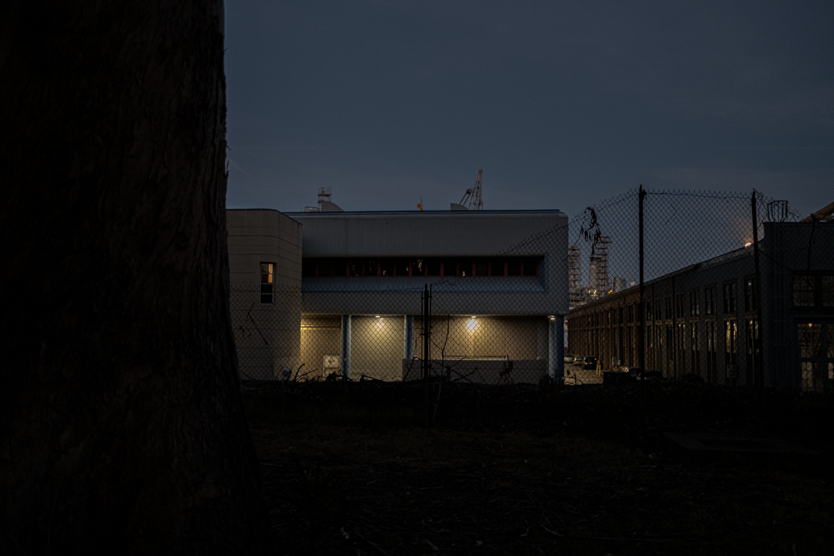 A building on Mare Island at night.