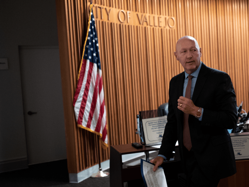 Vallejo City Manager Greg Nyhoff is seen at the swearing-in for Police Chief Shawny Williams on November 12, 2019 at Vallejo City Hall.