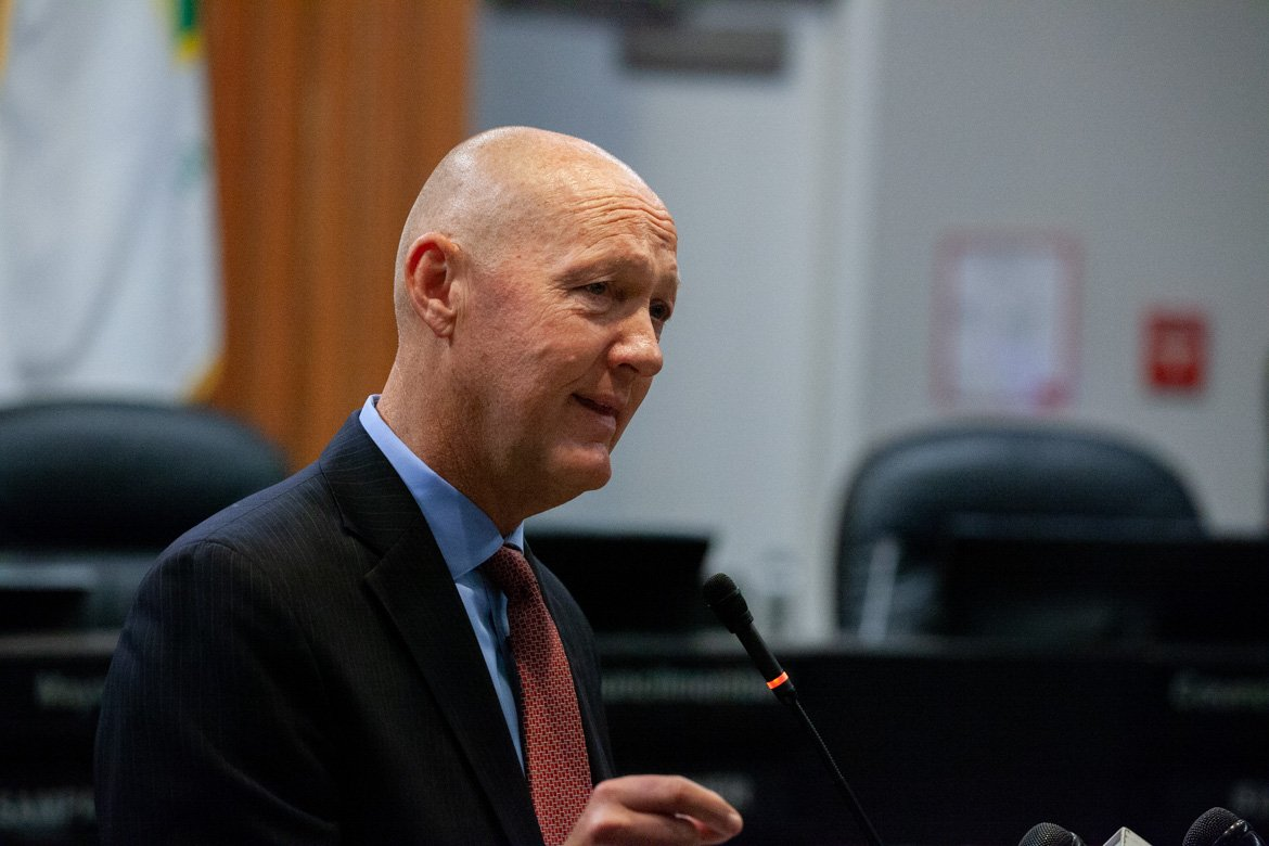 Greg Nyhoff addresses a crowd at Vallejo City Hall in November 2019.