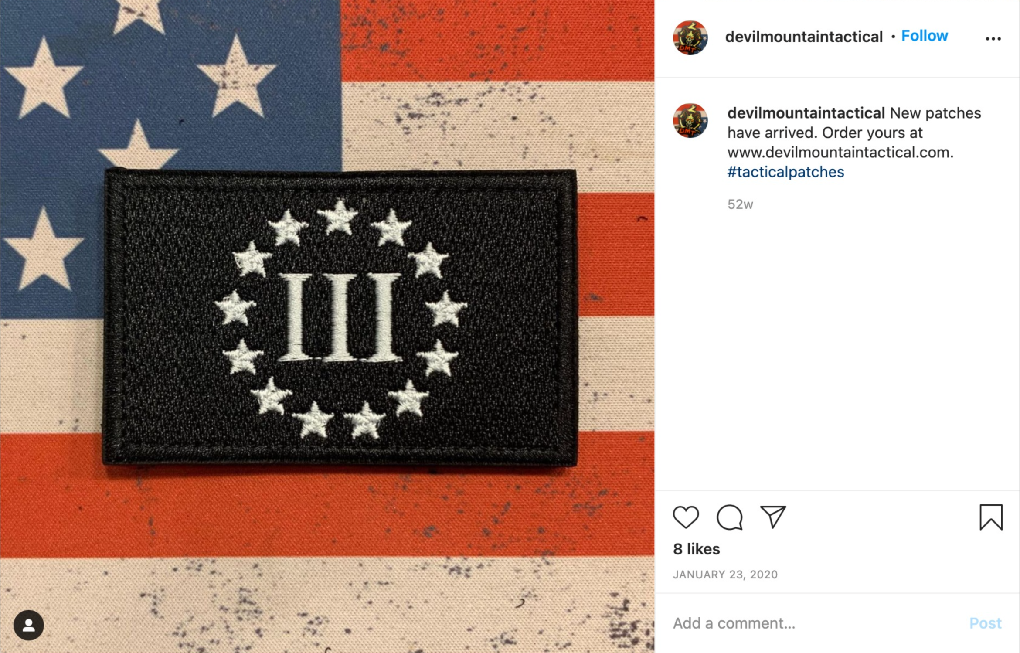 A screenshot from Instagram depicting a close-up image of a Three Percenter militia patch.