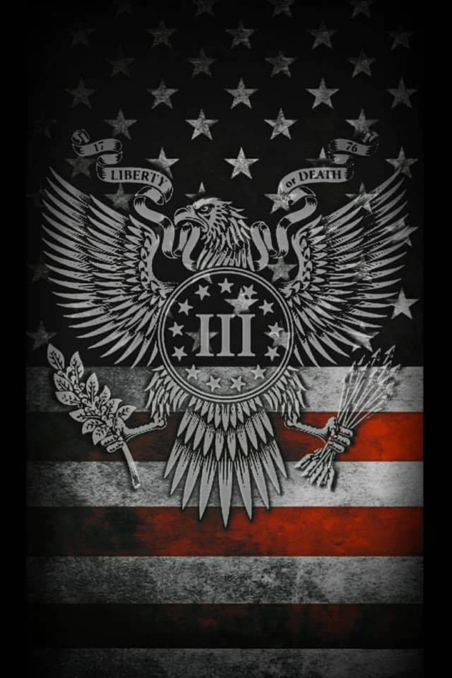 A Three Percenter logo rests in the center of an icon of a bald eagle over a backdrop of the American flag.