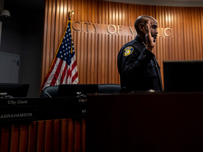 Vallejo Police Chief Shawny Williams is sworn into office under the gaze of a city surveillance camera on Nov. 12, 2019. A BuzzFeed News investigation found that Vallejo was one of more than 1,800 public entities to use a facial recognition technology so powerful, it is the subject of numerous lawsuits and several government probes. A Vallejo police spokesperson said the department's command staff were unaware of its use prior to being contacted for comment by Open Vallejo.